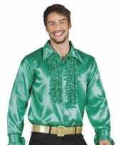 Goedkope groene rouche overhemd voor heren