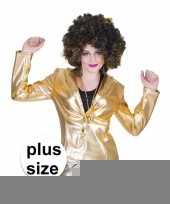 Goedkope grote maat gouden disco jaren 70 jasje voor dames