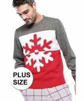 Goedkope grote maat grijs rode foute lelijke gebreide kersttrui met sneeuwvlok print voor heren volw