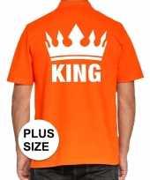 Goedkope grote maat koningsdag polo t-shirt oranje king voor heren
