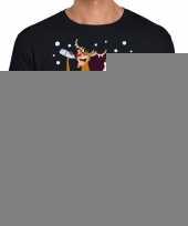Goedkope grote maten foute kerstmis shirt zwart met een dronken kerstman en rudolf voor heren