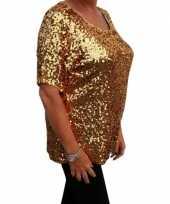 Goedkope grote maten glitter pailletten shirt goud dames xl 44 48