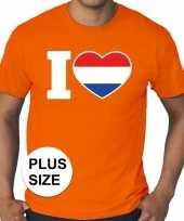 Goedkope grote maten i love holland shirt oranje heren
