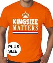 Goedkope grote maten kingsize matters koningsdag met kroon shirt oranje heren