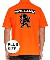 Goedkope grote maten koningsdag polo t-shirt oranje holland met grote zwarte leeuw voor heren