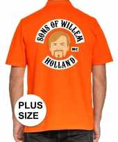 Goedkope grote maten koningsdag polo t-shirt oranje sons of willem holland mc voor heren