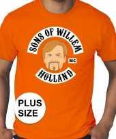 Goedkope grote maten koningsdag sons of willem shirt oranje heren
