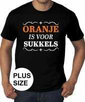 Goedkope grote maten zwart oranje is voor sukkels t-shirt heren