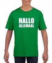 Goedkope hallo allemaal fun t-shirt groen voor kinderen