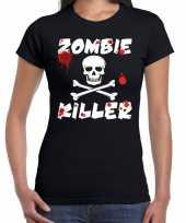 Goedkope halloween zombie killer shirt zwart dames met zombie killer bedrukking