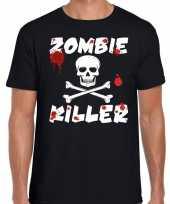 Goedkope halloween zombie killer shirt zwart heren met zombie killer bedrukking