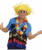 Goedkope hawaii kostuum blauw overhemd voor heren