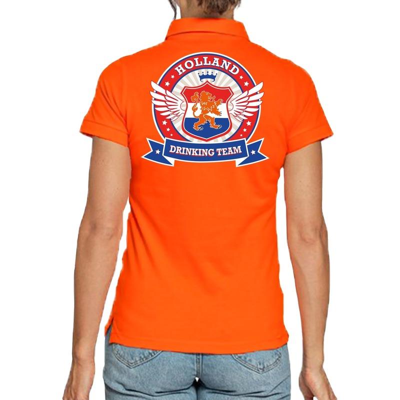 Goedkope holland drinking team polo t-shirt oranje met kroon voor dames