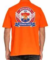 Goedkope holland drinking team polo t-shirt oranje met kroon voor heren