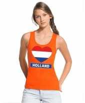 Goedkope holland hart vlag topje shirt oranje dames