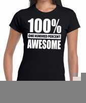 Goedkope honderd procent awesome t-shirt zwart voor dames
