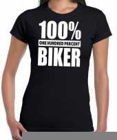 Goedkope honderd procent biker motorrijder t-shirt zwart voor dames