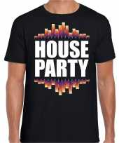 Goedkope house party fun tekst dance t-shirt zwart voor heren