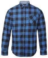 Goedkope houthakkershirt geruit blauw zwart