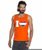 Goedkope i love holland mouwloos shirt oranje heren