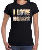 Goedkope i love horses paarden dieren shirt zwart voor dames paardenmeisjes