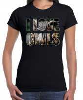Goedkope i love owls uilen dieren shirt zwart dames