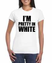 Goedkope i m pretty in white t-shirt wit dames