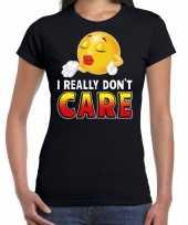 Goedkope i really dont care emoticon fun shirt dames zwart