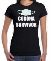 Goedkope kado t-shirt corona survivor zwart voor dames