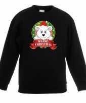 Goedkope kersttrui met ijsbeer zwart voor jongens en meisjes