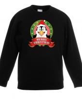 Goedkope kersttrui met pinguin zwart voor jongens en meisjes