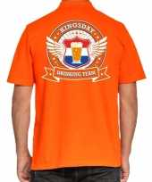 Goedkope kingsday drinking team polo t-shirt oranje met kroon voor heren