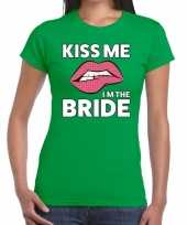 Goedkope kiss me i am the bride groen fun t-shirt voor dames