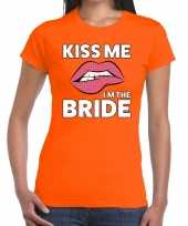 Goedkope kiss me i am the bride oranje fun t-shirt voor dames