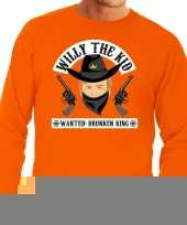 Goedkope koningsdag fun sweatshirt willy the kid oranje heren