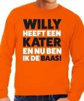 Goedkope koningsdag fun trui willy heeft een kater oranje heren