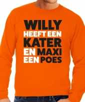 Goedkope koningsdag fun trui willy kater maxi poes oranje heren