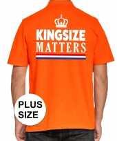 Goedkope koningsdag kingsize matters polo t-shirt oranje met kroon voor heren