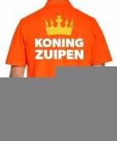Goedkope koningsdag polo t-shirt oranje koning zuipen voor heren
