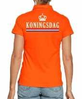 Goedkope koningsdag polo t-shirt oranje met kroon voor dames