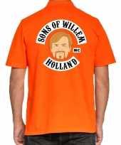 Goedkope koningsdag polo t-shirt oranje sons of willem holland mc voor heren