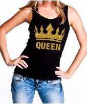 Goedkope koningsdag queen topje shirt zwart met gouden glitters dames