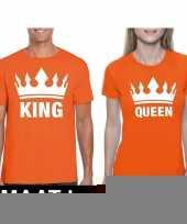 Goedkope koppel shirts koningsdag king queen oranje dames en heren maat l