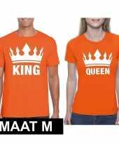Goedkope koppel shirts koningsdag king queen oranje dames en heren maat m