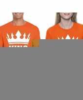 Goedkope koppel shirts koningsdag king queen oranje dames en heren maat xl