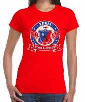 Goedkope kort en pittig team t-shirt rood dames