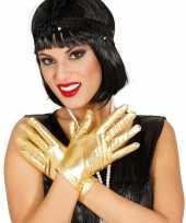 Goedkope korte verkleed handschoenen metallic goud 22 cm