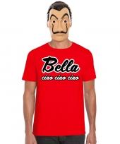 Goedkope la casa de papel masker inclusief rood bella ciao t-shirt voor heren