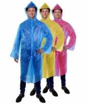 Goedkope lange regenjas regenponcho voor carnaval blauw