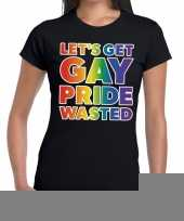 Goedkope lets get gay pride wasted gaypride tekst fun shirt zwart dames
